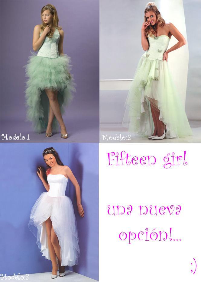 Modelo de vestido corto adelante y largo atras